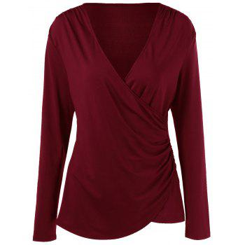 Long Sleeve Plus Size Overlap Surplice T-Shirt