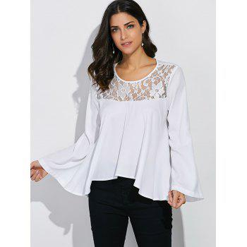 Lace Panel Bell Sleeve Blouse