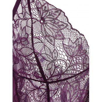 See-Through Lace Insert Babydoll - PURPLE PURPLE