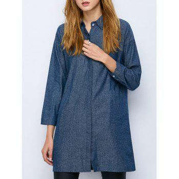Oversized Long Sleeve Longline Chambray Shirt