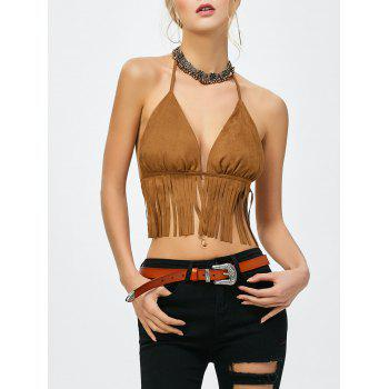 Fringed Faux Suede Backless Tank Top - BROWN BROWN