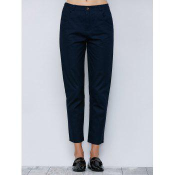 Elastic Waisted Cigarette Pants With Pocket