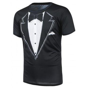 Short Sleeve Bow Tie Print T-Shirt - BLACK BLACK