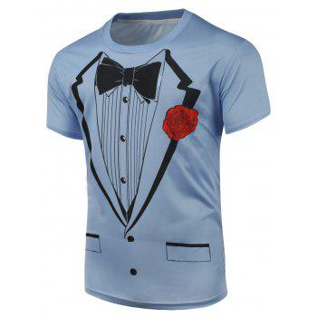 Short Sleeve Bow Tie and Floral Print T-Shirt