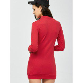 High Neck Long Sleeve Lace Up Mini Bodycon Dress - RED M