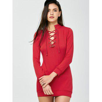 High Neck Long Sleeve Lace Up Mini Bodycon Dress - RED RED