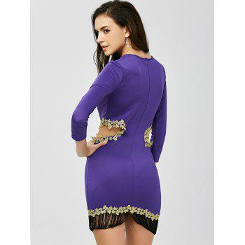Fringed Cut Out Applique Tight Bodycon Dress - PURPLE S