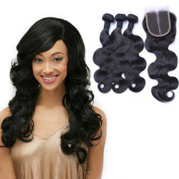 Body Wave Indian 8A Remy Hair Weave 3 Pcs/Lot With Lace Closure