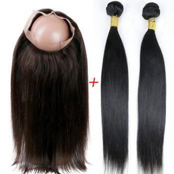 Faddish Indian 5A Remy Straight Hair Weave 2 Pcs/Lot With 360 Lace Frontal Human Hair Weave - BLACK BLACK