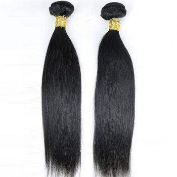 Faddish Indian 5A Remy Straight Hair Weave 2 Pcs/Lot With 360 Lace Frontal Human Hair Weave - BLACK 14INCH*16INCH*CLOSURE 12INCH