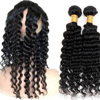 Faddish Indian 5A Remy Deep Wave Hair Weave 2 Pcs/Lot With 360 Lace Frontal Human Hair Weave