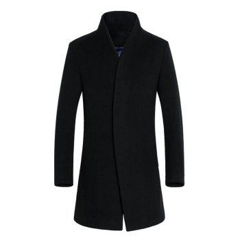 Slimming Single Breasted Stand Collar Wool Mix Coat - BLACK BLACK