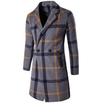 Buttoned Lapel Collar Wool Blend Plaid Coat