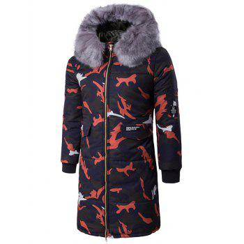 Zipper Up Camo Quilted Coat with Furry Hood - RED RED
