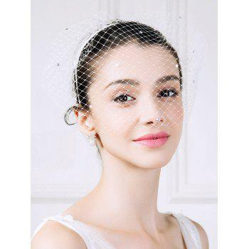 Mesh Veil Hairband with Rhinestones