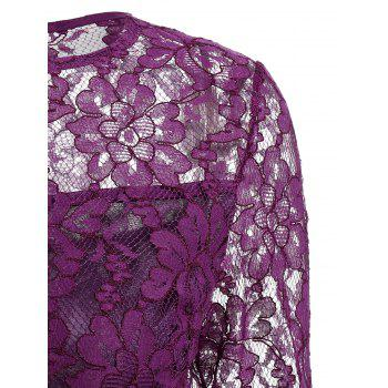 Lace See Thru Dress with Sleeves - PURPLE S
