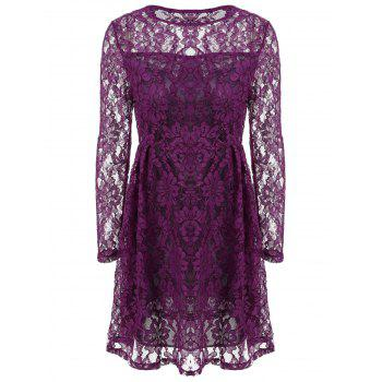 Lace See Thru Dress with Sleeves - PURPLE PURPLE