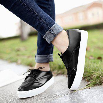 Pointed Toe Wingtip Athletic Shoes - BLACK 37