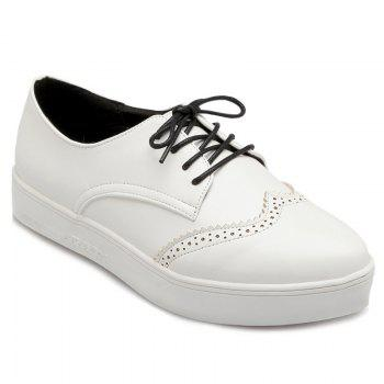 Pointed Toe Wingtip Athletic Shoes - WHITE WHITE