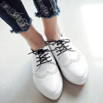 Pointed Toe Wingtip Athletic Shoes - WHITE 37