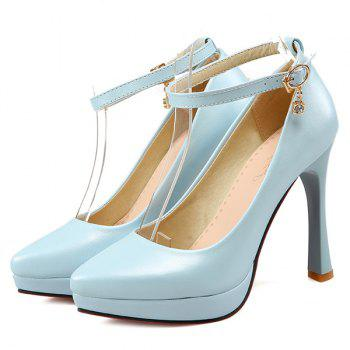 Pointed Toe Ankle Strap Pumps - LIGHT BLUE 39