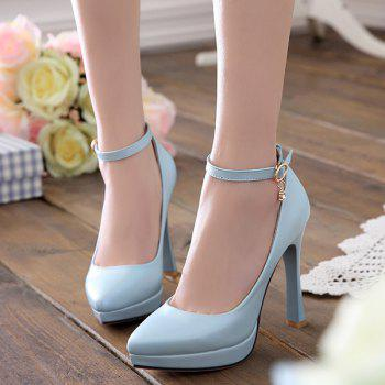 Pointed Toe Ankle Strap Pumps - LIGHT BLUE LIGHT BLUE