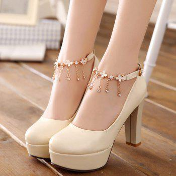 Ankle Strap Chains Pumps - BEIGE 39