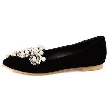 Rhinestones Faux Pearls Flat Shoes - BLACK 37