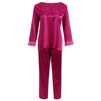 Fringed Ruffle Faux Silk Loungewear