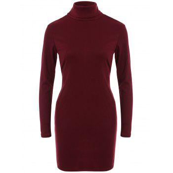 Turtleneck Open Back Tight Dress