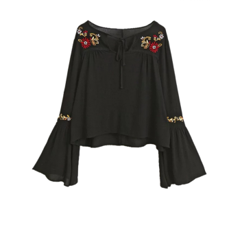 Buy Embroidered Lace Flare Sleeve Blouse BLACK