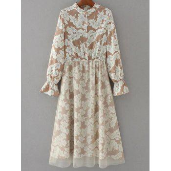 Tulle Panelled Floral Long Sleeve Dress