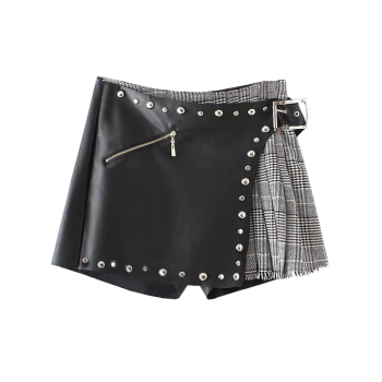 Plaid Faux Leather Rivet Shorts