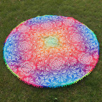 Small Pompon Colorful Ombre Retro Print Round Beach Throw - COLORFUL COLORFUL
