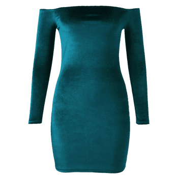 Off The Shoulder Velvet Long Sleeve Fitted Dress