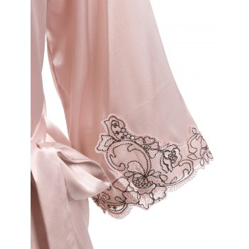 Lace Faux Silk Outerwear and Slip Dress Loungewear - NUDE PINK L