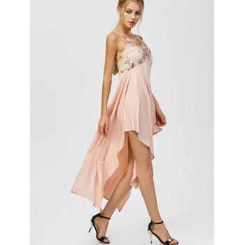 Sequin Nude Handkerchief Cami Midi Night Out Dress - Rose Abricot Clair L