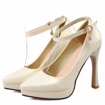 Pointed Toe Ankle Strap Pumps - BEIGE BEIGE