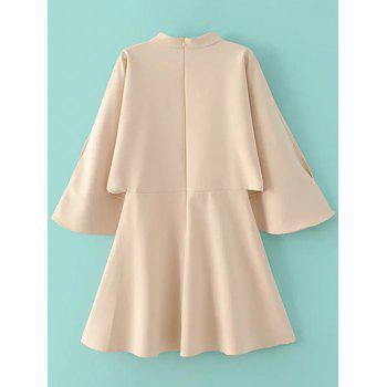 Split Bell Sleeve A Line Dress - OFF WHITE M
