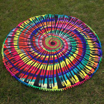 Small Pompon Colorful Splash-Ink Vortex Print Round Beach Throw - COLORFUL ONE SIZE