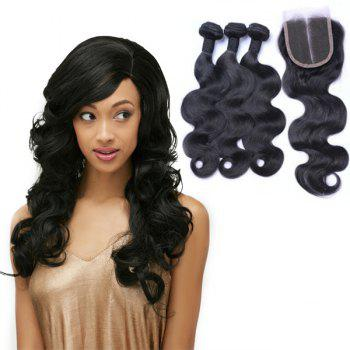 Body Wave Indian 8A Remy Hair Weave 3 Pcs/Lot With Lace Closure - BLACK 18INCH*20INCH*22INCH*CLOSURE 16INCH