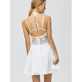 Low Back Mini Halter Cut Out Dress - WHITE XL