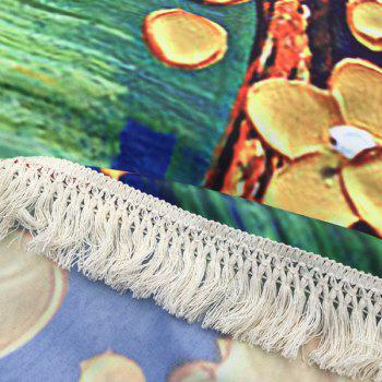 Flower Tree Oil Painting Tassel Round Beach Throw - YELLOW ONE SIZE