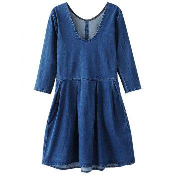 Backless Short Jean Mini Denim Dress - BLUE S