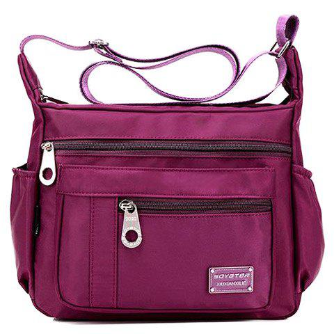 Concise Zippers and Nylon Design Women's Shoulder Bag - PURPLISH RED
