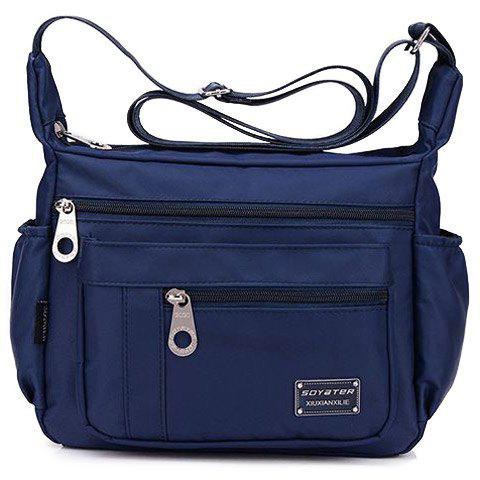 Concise Zippers and Nylon Design Women's Shoulder Bag - DEEP BLUE