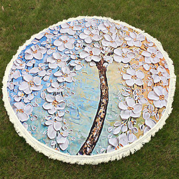 Flower Tree Oil Painting Tassel Round Beach Throw - OFF WHITE ONE SIZE