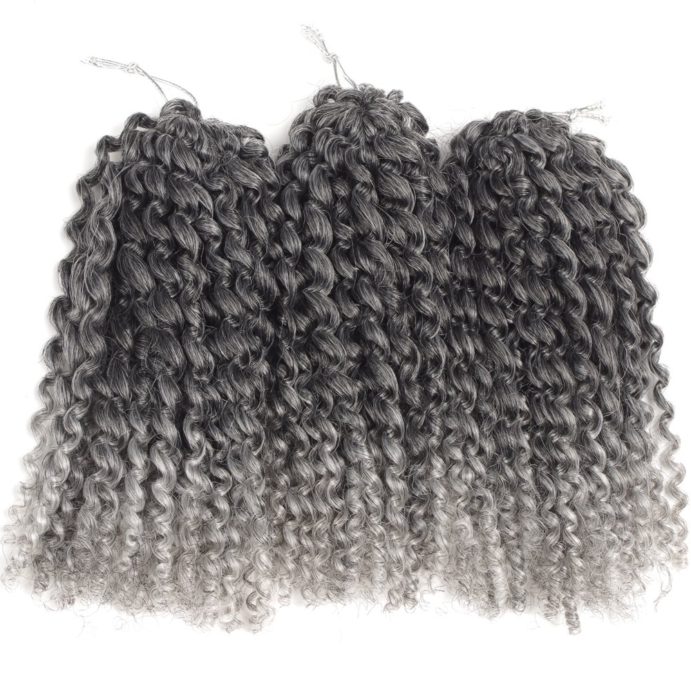 Court synthétique Fluffy Curly Hair Extension - Noir et Gris