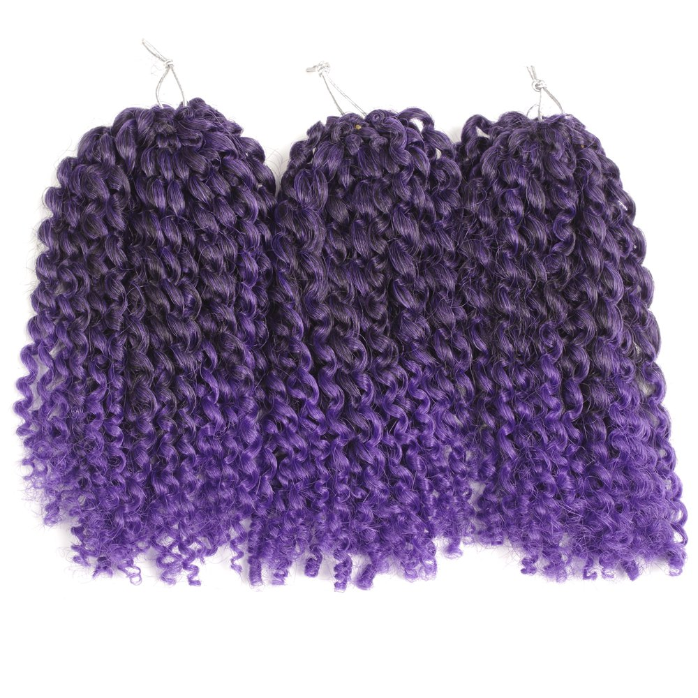 Court synthétique Fluffy Curly Hair Extension - Noir et Violet