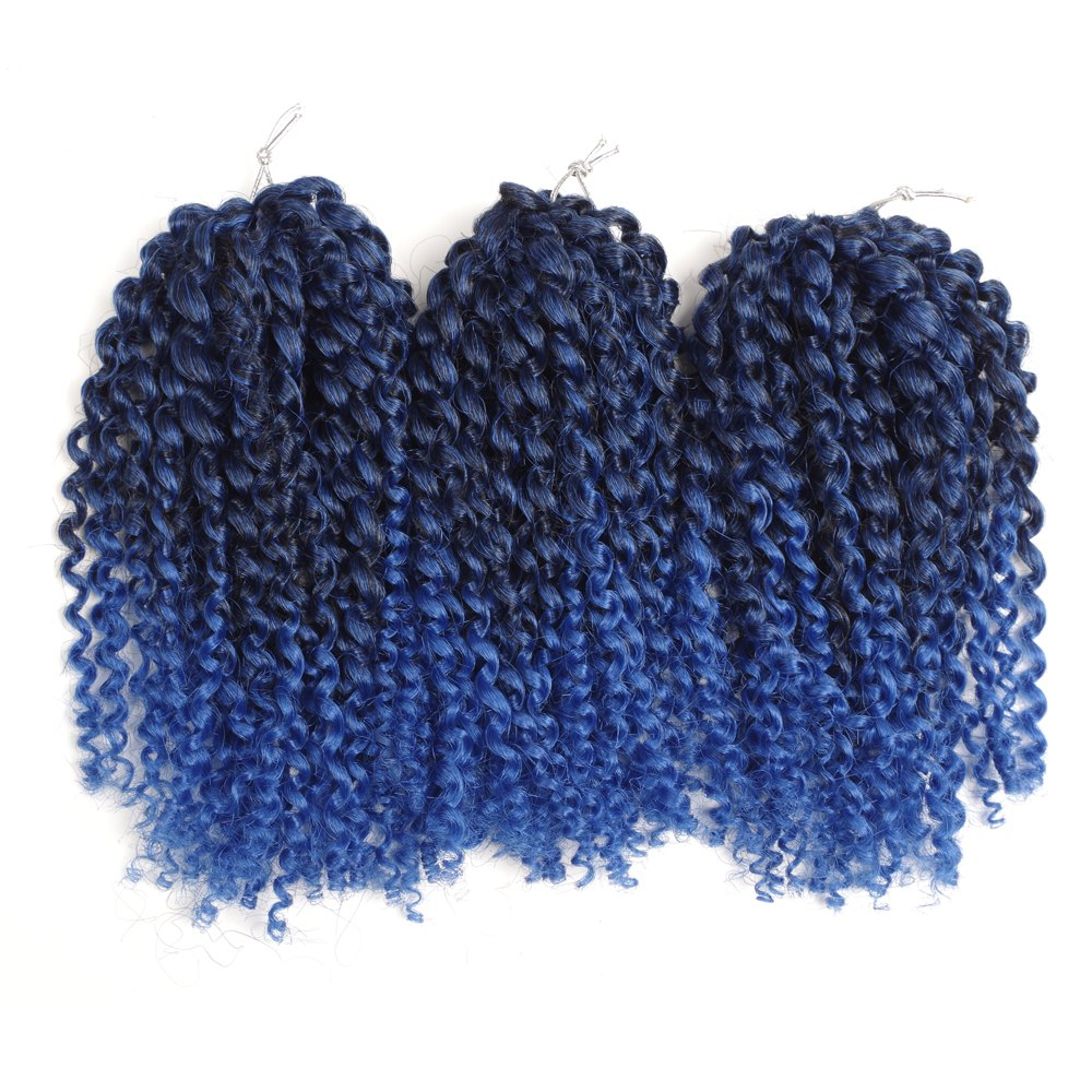 2018 Short Fluffy Curly Synthetic Hair Extension Blackblue In Hair